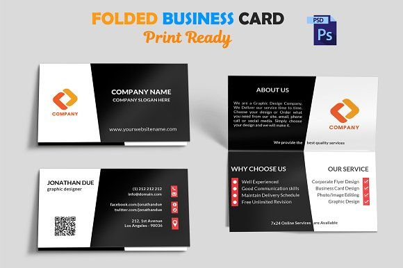 Creative Folded Business Card Vol 3 Folded Business Cards Business Card Mock Up Business Cards Creative Templates