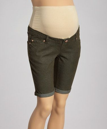 Look what I found on #zulily! Olive Five-Pocket Denim Maternity Bermuda Shorts - Women by Mom & Co. #zulilyfinds