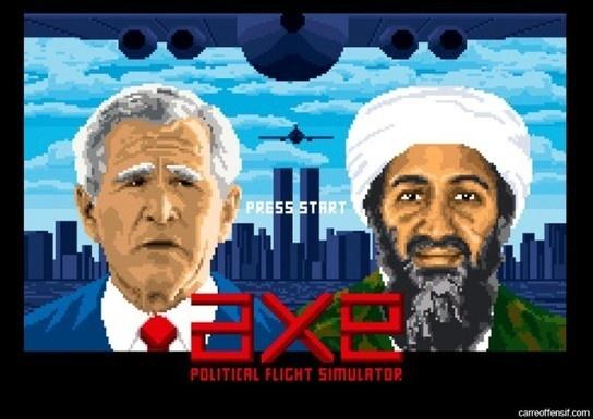 """Politique et Pixel Art, par Carré Offensif - """"Dans un univers jeux vidéos Old school, carré offensif joue au pixel art avec humour et acidité. Alternant compositions détaillées, et plans serrés avec gros carrés qui brisent les yeux, il illustre le monde politique et les personnalités Pop traditionnelles. Ainsi, chanteurs, acteurs, sportifs, mais aussi politiques et dictateurs se font tirer le portrait en quelques pixels…"""""""