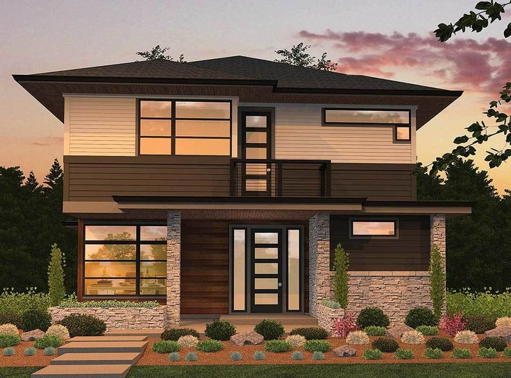 072H-0163 Contemporary Two-Story House Plan Two-Story House Plans