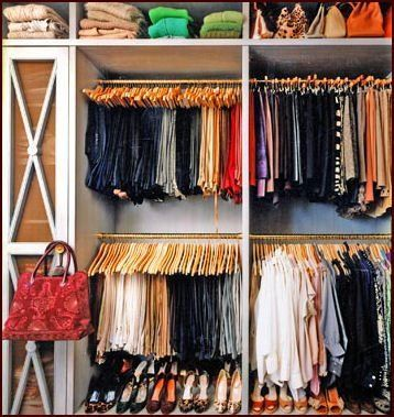 Organized Closet With Screened Cupboards