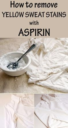 How to remove yellow sweat stains with aspirin - CleaningTutorials.net - Your Cleaning Solutions