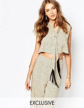 Reclaimed Vintage Scarf Neck Crop Top With Deep V-Neck Co-Ord In Polka Dot Print