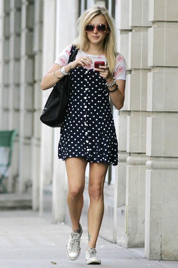 Fearne Cotton in a polka dot dress in London