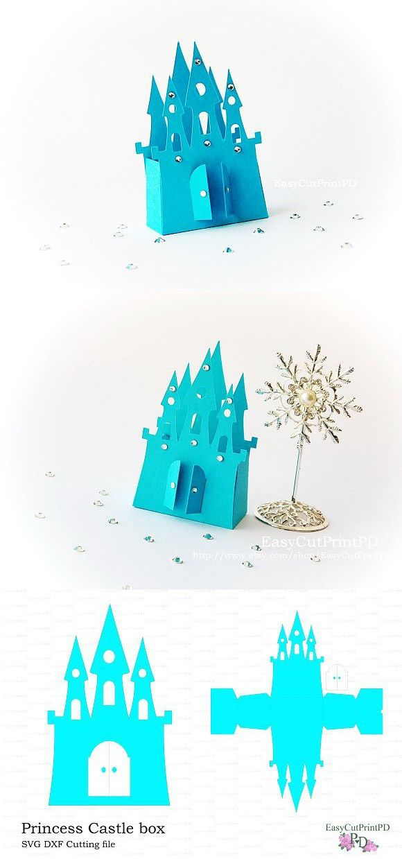 Princess Frozen Castle box template. Invitation Templates. $6.00