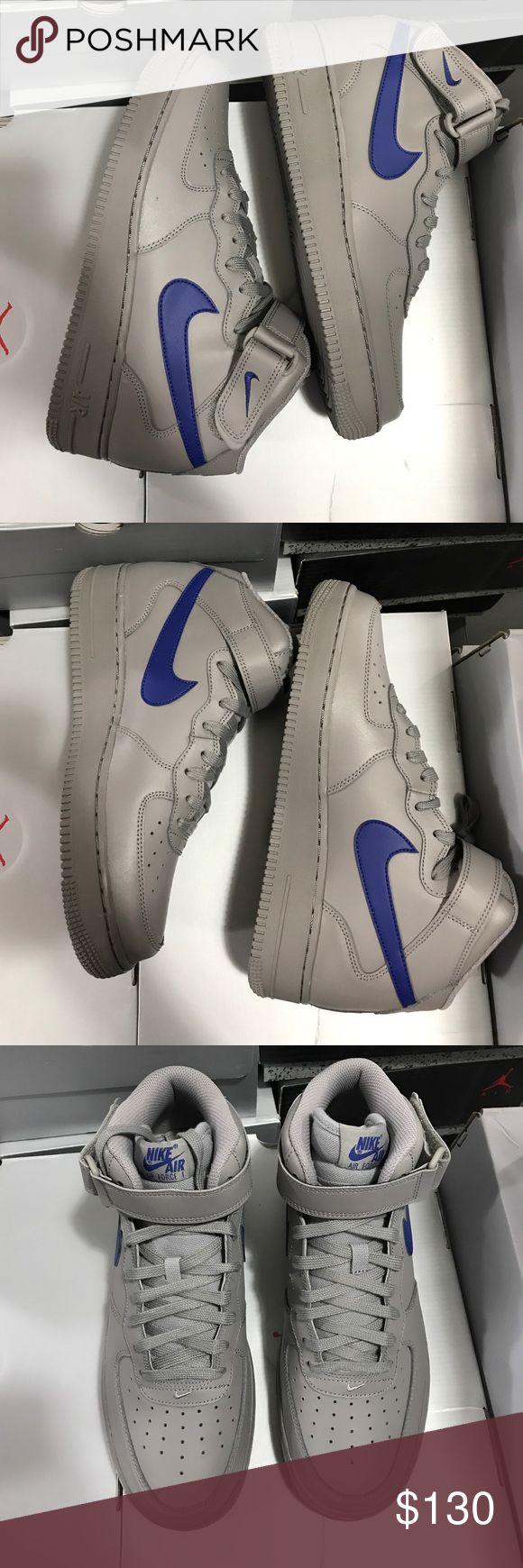 Nike Air Force 1 MID '07 2017 Dust/Deep Royal Blue Nike Shoes Sneakers