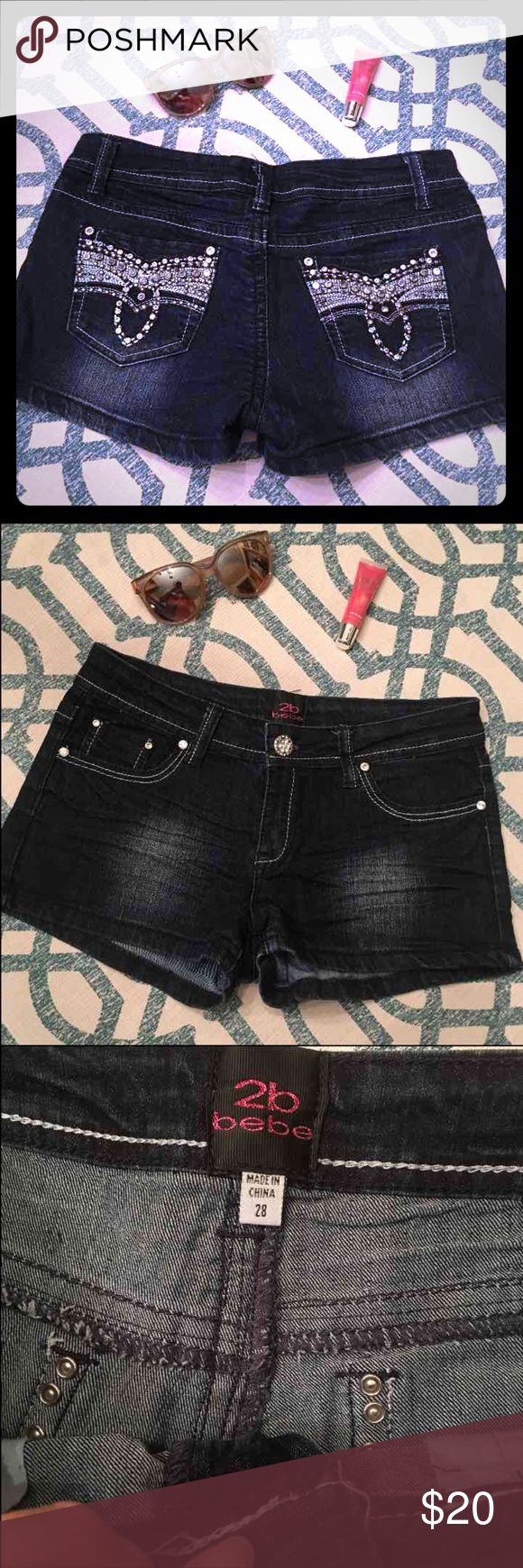 Bling Jean Shorts **Super Cute** Stretchy Jean Shorts, size 28. In great shape.   Happy to bundle :)  Lots of Victoria Secret, Pink, Nike, Under Armour, Lululemon, Patagonia, Miss Me, and other Buckle items to list. Follow me to check out the great deals. 2B Bebe Shorts Jean Shorts