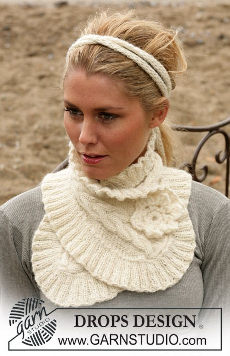 DROPS Neck warmer and hair band in Alpaca ~ DROPS Design