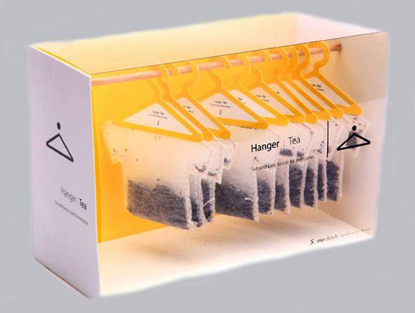 Embalagem Tea Shirts coloca saquinhos de chá como roupas em armário