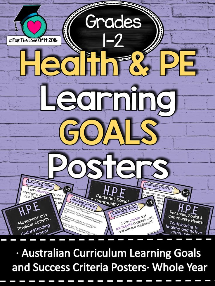 Grades 1 and 2 HEALTH & PE – All AC Descriptors (Whole Year) Learning GOALS and Success Criteria Posters.   This packet has all the posters you will need to display the learning GOALS for the entire year!!!!:  Grades 1 and 2 Australian Curriculum HEALTH & PE  All content descriptors have been reworded into smart goals with an accompanying poster showing the success criteria needed to achieve these goals.   I have them laminated them at A3 size to display as we are working towards each goal…