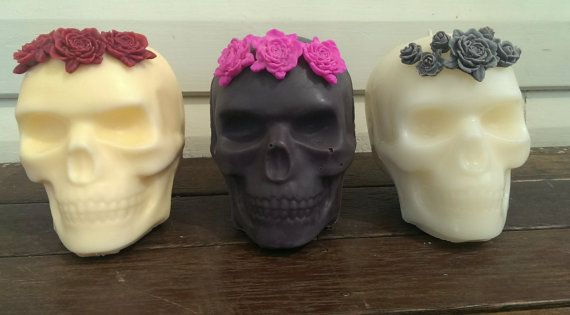 Custom Order  Skull Candle with 3 large Roses   by RogerandMolly, $40.00