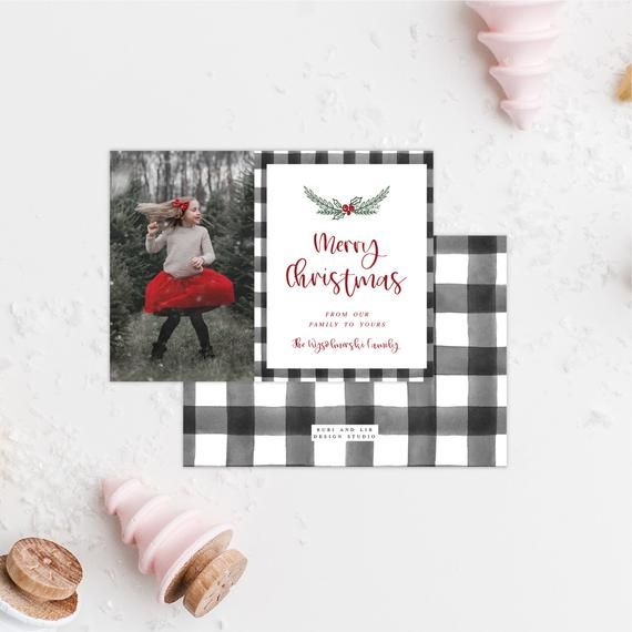 Buffalo Plaid Christmas Photo Card Photo Holiday Card Etsy Christmas Photo Cards Holiday Photo Cards Holiday Photo Cards Design