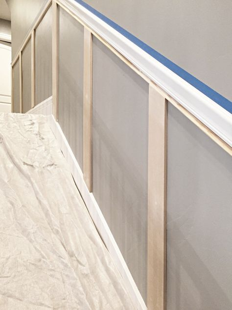 Today Im sharing a staircase makeover, How to install staircase molding in an inexpensive way