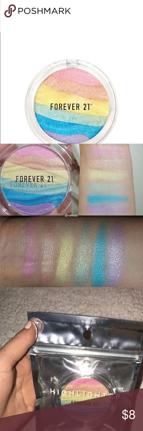 Limited Edition Rainbow Highlighter *NEW* F21 rainbow highlighter. I found these swatches online as mine is still in the original packaging. No longer available on the Forever 21 website. Never used. Package never opened Forever 21 Makeup Luminizer