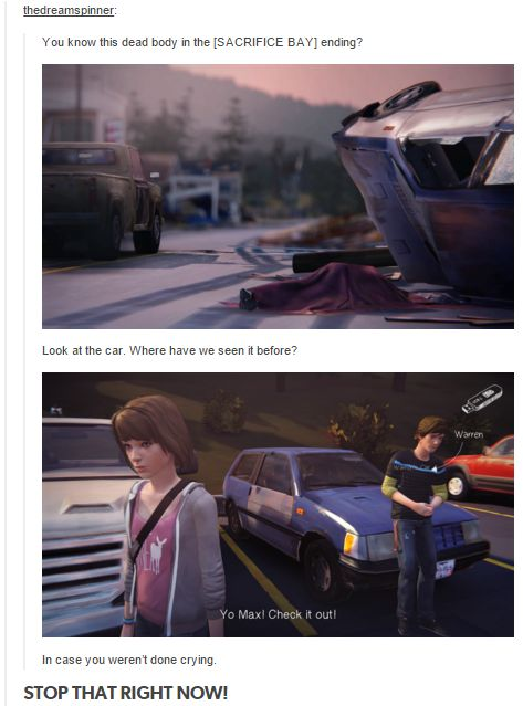 DON'T YOU DARE BRING THAT INTO MY HOUSE! GO SIT DOWN NOW! WARREN IS ALIVE AND HAPPY! *SOBS* life is strange