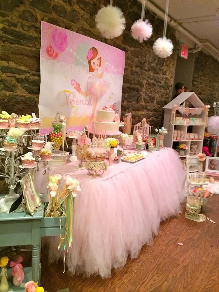 Sweet ballerina themed 1st birthday party with so many for Ballerina party decoration ideas