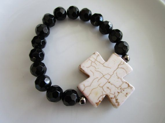 Semi precious stone white howlite side cross by LeeliaDesigns