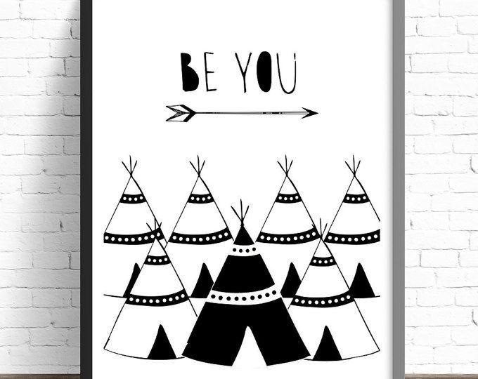 Kwekerij Print, tipi kwekerij Print, Tribal kwekerij Print, Childrens slaapkamer Print, jongens, meisjes, Baby