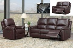 3PC Brown Leather Sofa Set | Morning Furniture