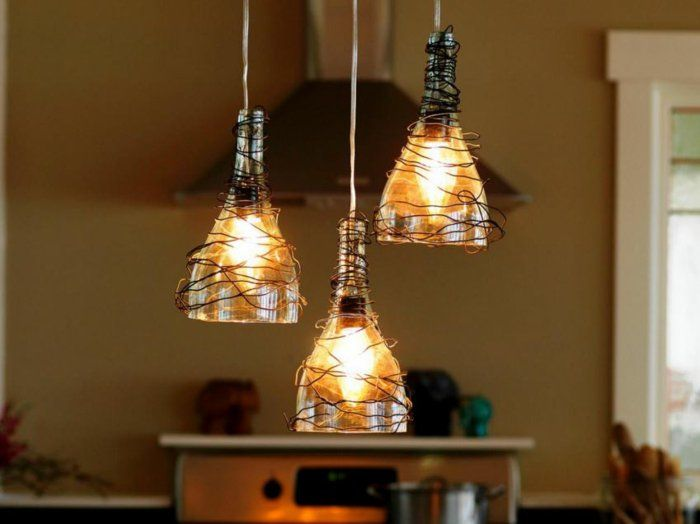 DIY LAMPEN SELBER machen lampe diy lampenschirme selber machen weinflaschen (Flaschenlampe Bottle Lights)