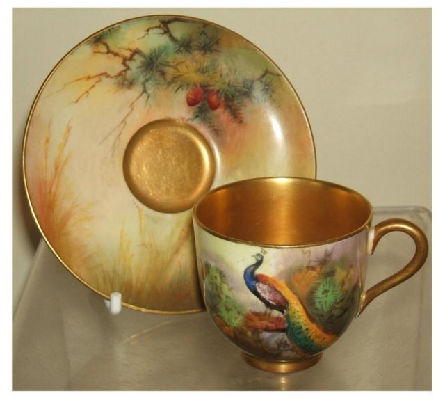 Royal Worcester Handpainted Peacock Cup Saucer Austin Date 1924: