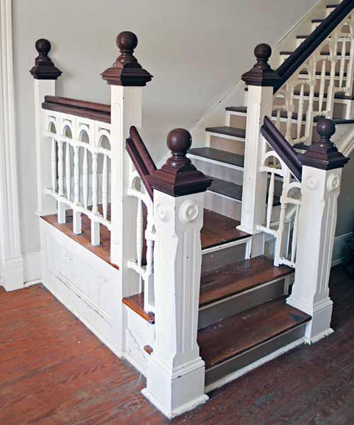 interior staircase with balustrade and sunburst patterned stair scrolls, save this old house Grimesland north carolina victorian farmhouse