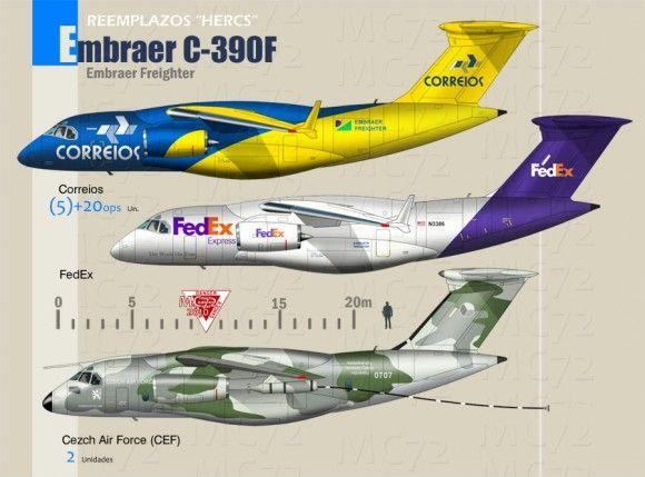 """O cargueiro da Embraer KC-390 está rendendo boas discussões em fóruns estrangeiros na Internet e ótimas imagens produzidas por artistas digitais. No alto, o compartimento de carga do """"mockup"""" da aeronave e abaixo, concepções artísticas com pinturas de outras forças e comparações entre o KC-390 e outras aeronaves. As ilustrações são de MC72. (Clicar nas"""