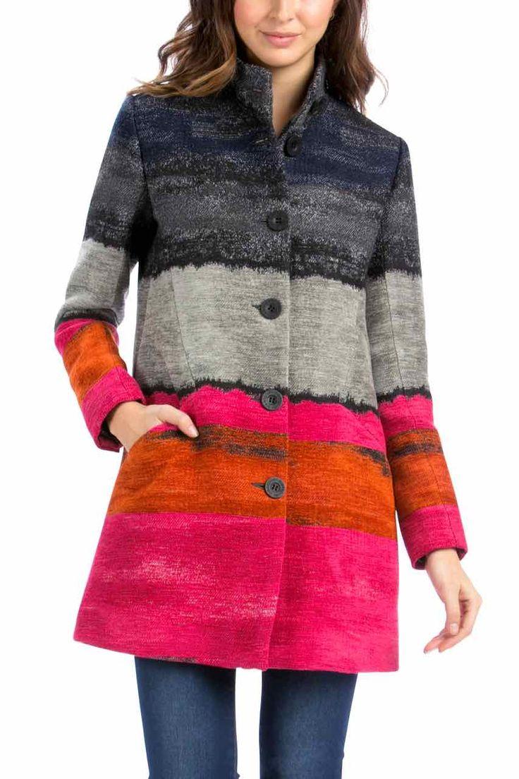 58E20A4_3156 Desigual Coat Tango Passion, Pink Grey Coat