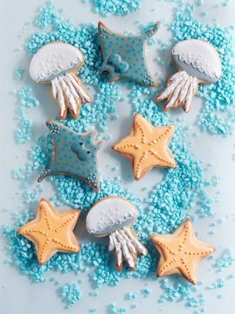 Icing koekjes zee thema kwal, zeester en rog