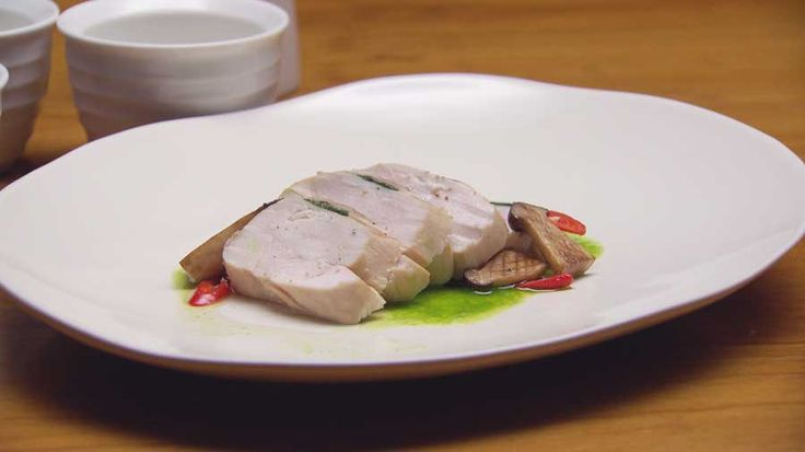Chinese Poached Chicken with Black Sesame Paste and Spring Onion Oil