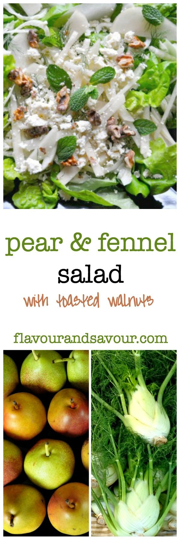Fresh pears, fresh fennel, walnuts and your choice of cheese makes this fabulous salad.