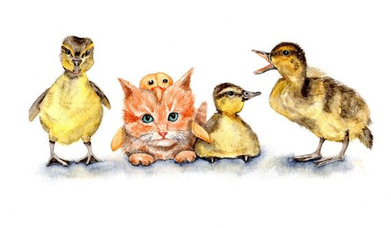 Find Odd One Out - Watercolor Print 8''x10'' gooslings ducklings kitten in a duck costume fantasy, Nursery, baby shower, Whimsical , cottage...