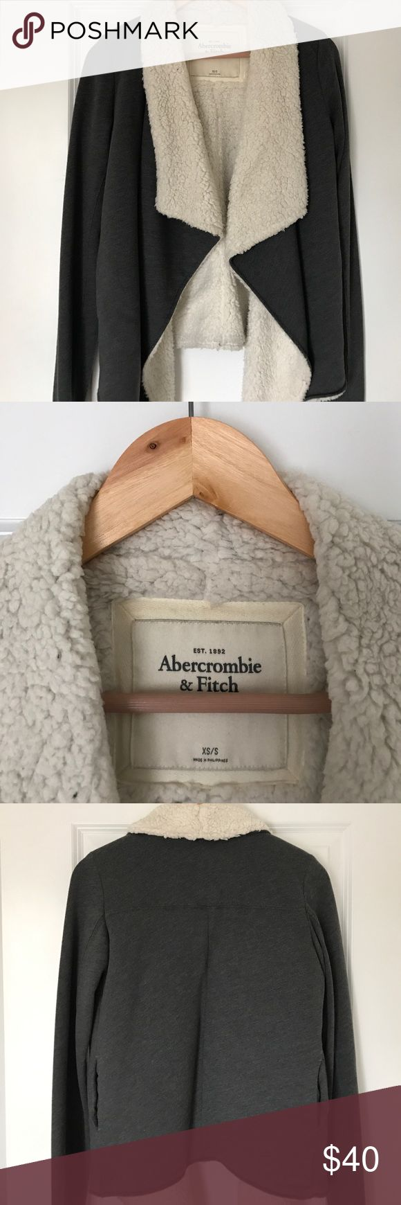 Abercrombie and Fitch Sherpa Fleece Jacket. Almost new Abercrombie and Fitch Sherpa Fleece Jacket. Super soft and warm. Side pockets. Drape front design. Women's XS/S. Abercrombie & Fitch Jackets & Coats