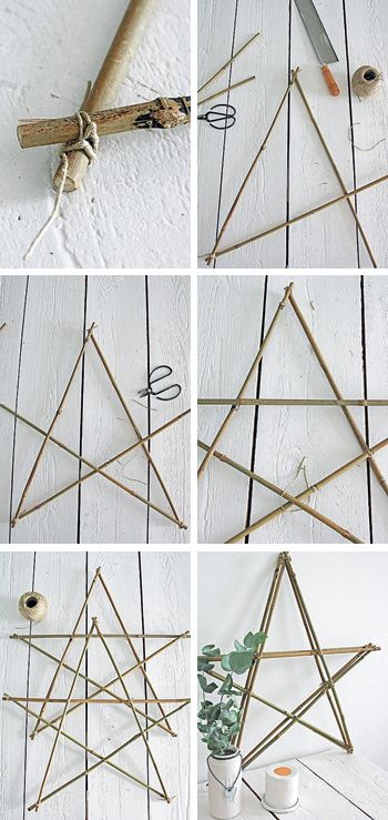 Easy - we have tons of twigs, a beautiful mantel place, and gold spray paint // <3 DIY: Star made out of twigs