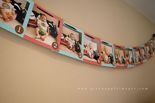 a picture from each month for decorations at 1st birthday party!