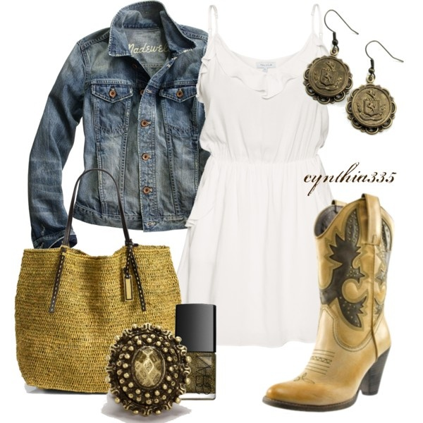 """""""Spring Cowgirl"""" by cynthia335 on Polyvore: Cowgirl Boots, Jeans Jackets, Spring Cowgirl, Style, Clothing, Country Girls, Cowboys Boots, The Dresses, Country Outfits"""