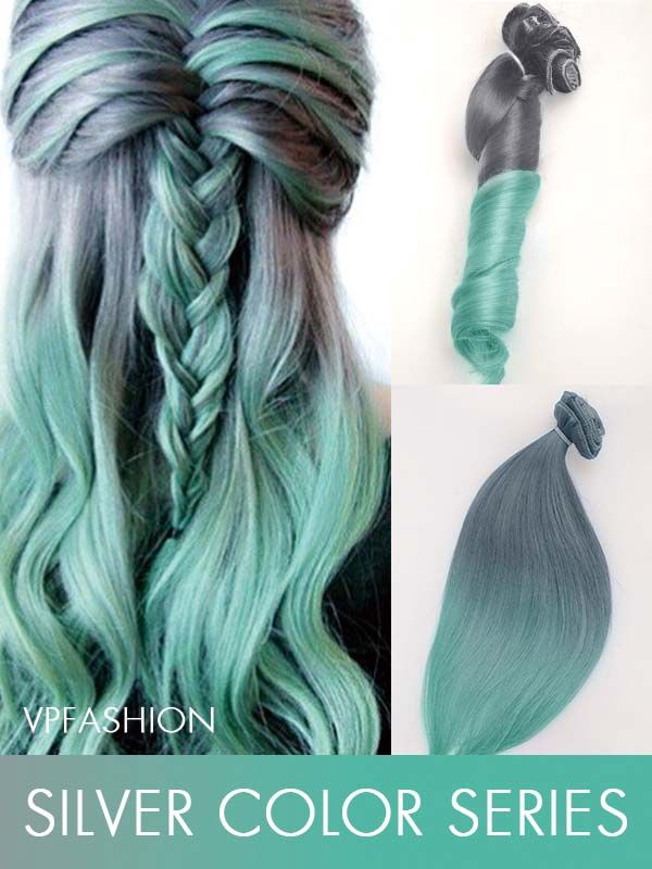Grey to Mint Mermaid Colorful Ombre Indian Remy Clip In Hair Extensions CS042 - Vpfashion