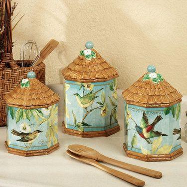 Botanical Birds Kitchen Canister Set