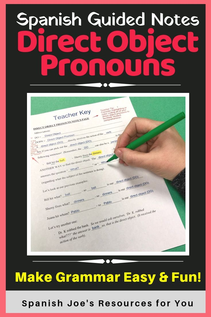 Direct Object Pronouns In Spanish Guided Notes And Key Writing Practice Worksheets Guided Notes Writing Practice