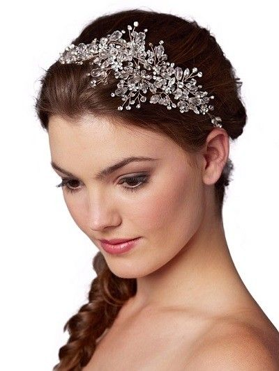 €119 Luxurious Hairvine Bruidskapsel Haaraccessoire Haarsieraad Bruid Bruiloft Wedding Headband Tiara Rosegoud Parel Crystal Vintage Bohomian