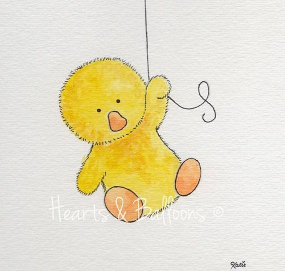 Childrens+art+Duck+watercolour+painting+PRINT+by+heartsandballoons,+$9.00