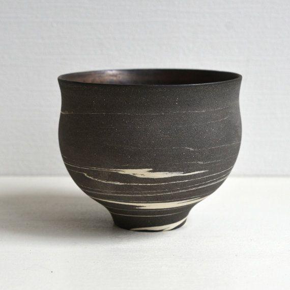 Wakako Senda 千田稚子 Black Marble Tea Bowl Blonze 130030022 by WakakoSenda on Etsy, $70.00