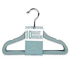 image of Kids Velvet Hangers in Aqua (Set of 10)