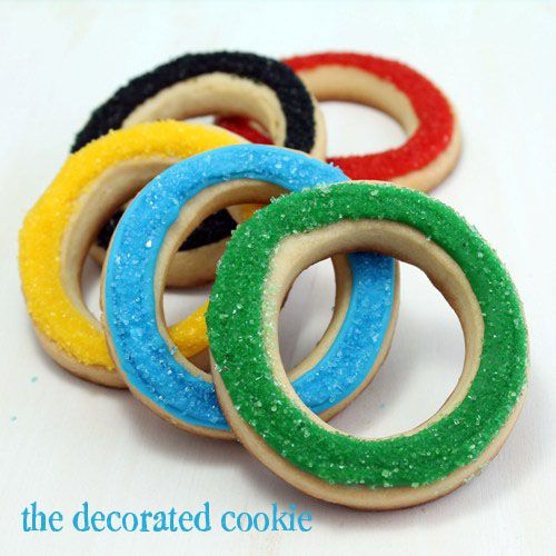easy Olympic ring cookiesRings Cookies, Olympics Crafts, Birthday Parties, Decor Cookies, Olympics Rings, Olympics Cookies, Parties Ideas, Games Parties, Olympics Parties