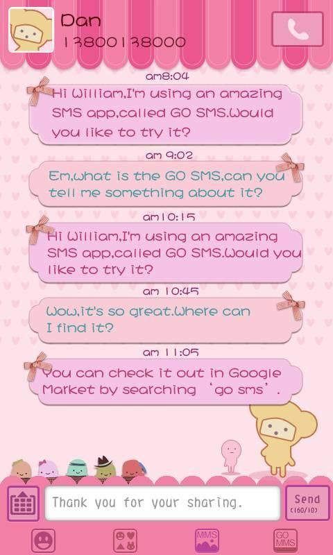 go sms pro themes | GO SMS Pro Pink Sweet theme - Android Apps and Tests - AndroidPIT
