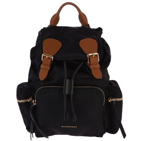 Leather Inserts Backpack ($995) ❤ liked on Polyvore featuring bags, backpacks, black, leather knapsack, leather daypack, draw string backpack, leather rucksack and quilted backpacks