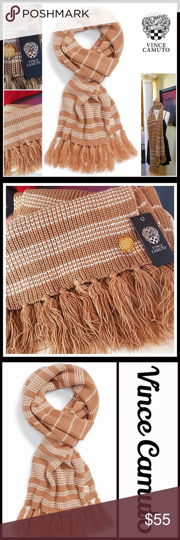 """VINCE CAMUTO COLLECTION Long Tassel Scarf NEW WITH TAGS RETAIL PRICE: $68  Scarf Stripe Thermal Blanket Scarf Fringe Trim  * Allover striped print   * Tassel fringe trim  * Approx 12"""" W X 74"""" L; 6"""" fringe  * Oversized style  * Super soft fabric  * Versatile longer length for styling    Material: 100% acrylic  Color: Camel-Ivory Item# SEARCH # Cape wrap CHUNKY KNIT SCARF Long Cowl Neck infinity plaid stripes checkered fray No Trades - Offers Considered* *Please use the blue 'offer' button to…"""