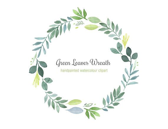 9fc65c102fec Hand-Painted Watercolor Wreath Green Leaves Clipart Foliage