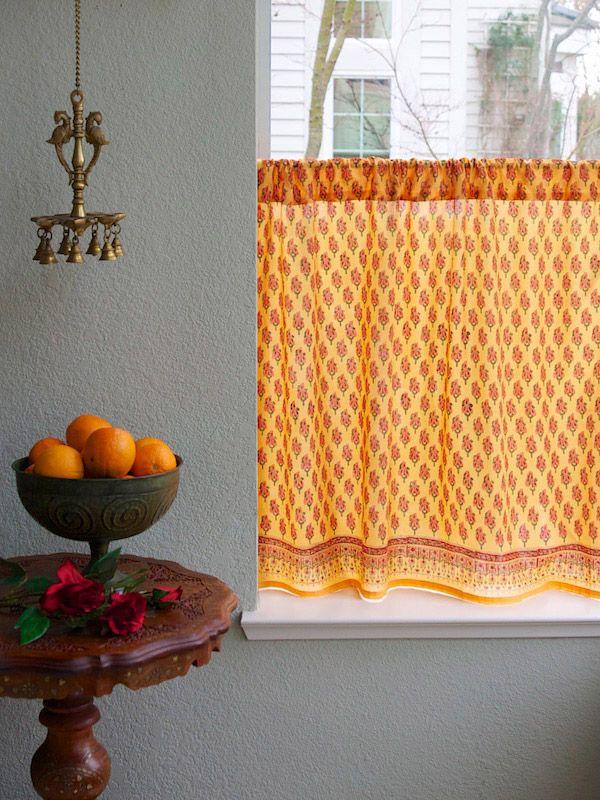 Orange Paisley Kitchen Curtain India Sari Print Tier Curtains Cafe