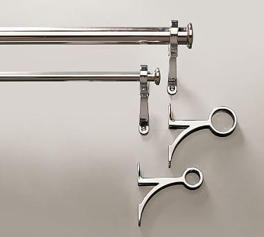 "PB Standard Double Drape Rod & Wall Bracket, 1.25"" diam., Medium, Polished Nickel Finish"
